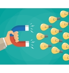 Hand with magnet attracting light bulbs idea vector image