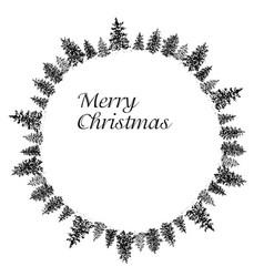 Ink fir forest circular frame vector