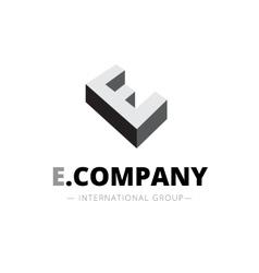 Isometric monochrome e letter logo company vector