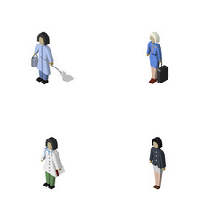 Isometric person set of doctor housemaid hostess vector