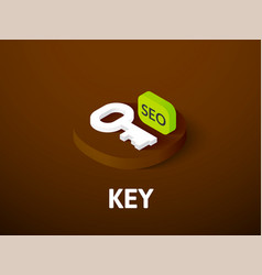 Key isometric icon isolated on color background vector