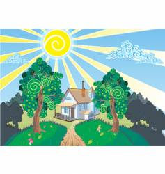 landscape and cottage vector image vector image