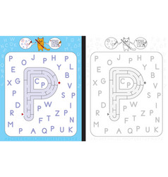 maze letter p vector image vector image