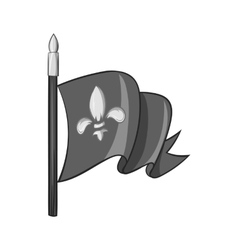 Medieval knight flag icon black monochrome style vector