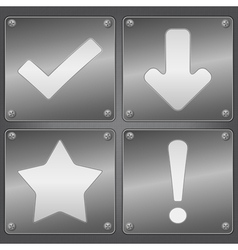 metal plates with icons vector image vector image