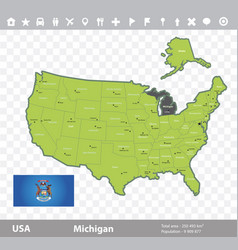 michigan flag and map vector image vector image