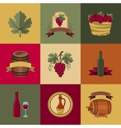 Set of objects icons for wine and restaurants vector image