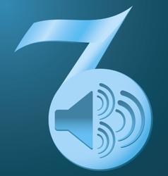 Speaker vibration note blue background vector