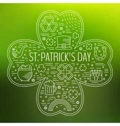 St patricks day line icons set in clover shape vector