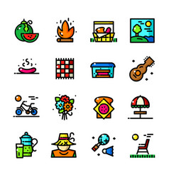 thin line picnic icons set vector image