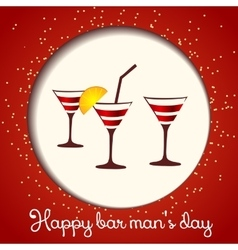three glasses on a red background vector image vector image