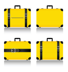 Travel suitcase set in yellow vector