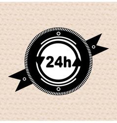 Vintage retro label tag badge 24 hours icon vector image vector image