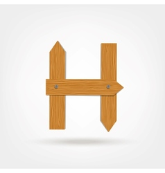 Wooden Boards Letter H vector image vector image