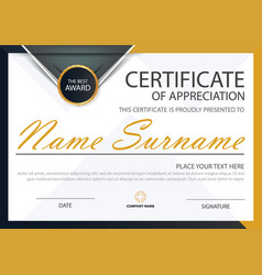 Yellow elegance horizontal certificate template vector