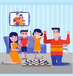Young caucasian white family playing chess at home vector