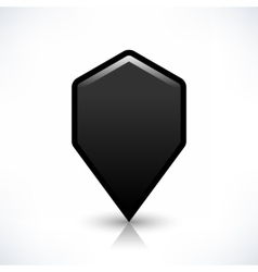 Black blank map pin sign hexagon location icon vector
