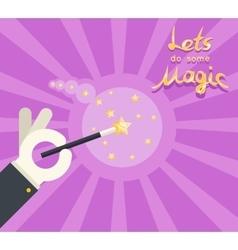 Magician hand white glove holding magic wand show vector