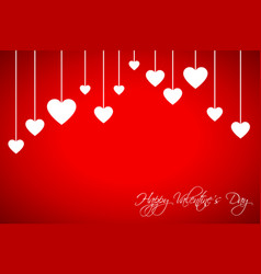 Happy valentines day card with hearts vector