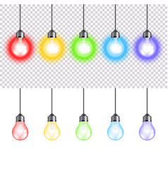 Colorful lightbulbs isolated on white vector