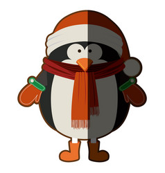 silhouette of penguin with boots scarf and gloves vector image