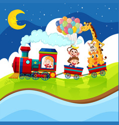 Kids and animals riding on the train at night vector