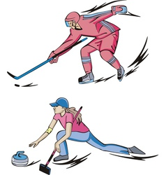 Ice hockey and curling vector