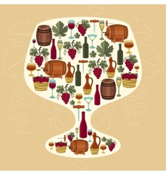 Concept with objects winemaking in shape of glass vector image