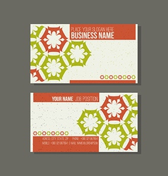 Business card template Floral green and orange vector image
