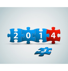 New Year 2014 card made from puzzle pieces vector image