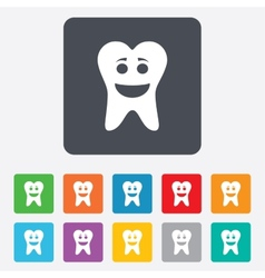 Tooth happy face sign icon healthy tooth vector