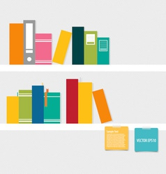 Books on shelf with notepapers vector