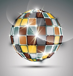 3d metal gold sparkling mirror ball created from vector