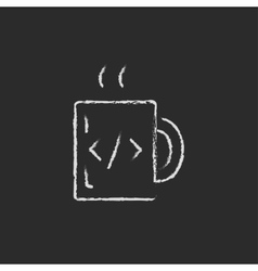 Mug with hot coffee drawn in chalk vector