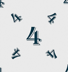 Number four icon sign seamless pattern with vector