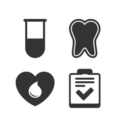 Medical icons tooth test tube blood donation vector