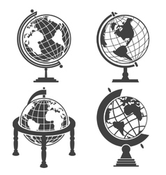 Earth globe monochrome set vector