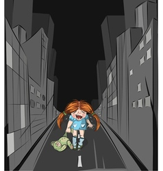 Lost girl in the big city vector