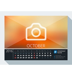 October 2016 stationery design print template desk vector