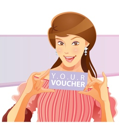 Pretty girl holding voucher vector