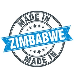 Made in zimbabwe blue round vintage stamp vector