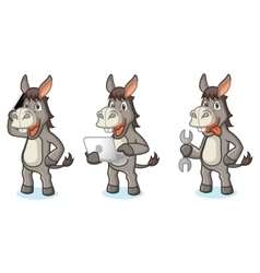 Gray donkey mascot with tools vector