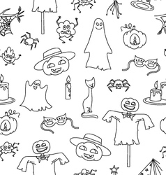 Halloween seamless pattern with bat pumpkin ghost vector