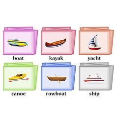 Water transportations on flashcards vector image