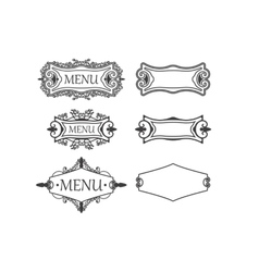 Set of three vintage frames with decorative and vector image