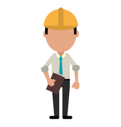 Business man construction clipboard helmet vector