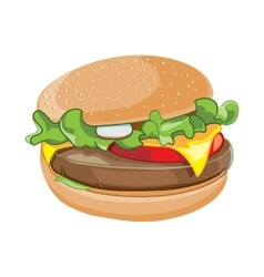 cartoon of hamburger isolate vector image