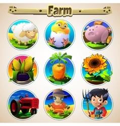 Cartoon set of animals vegetables and men vector image vector image