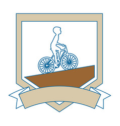 Cycling man riding a bicycle elegant frame vector