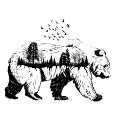 Double exposure hand drawn bear vector
